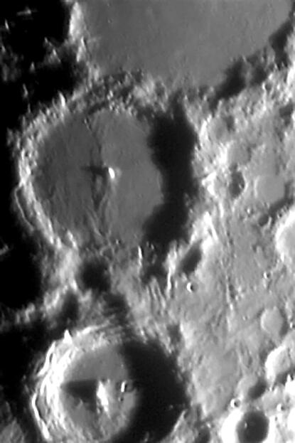 Moon - Craters Alphonsus & Arzachel - B&W